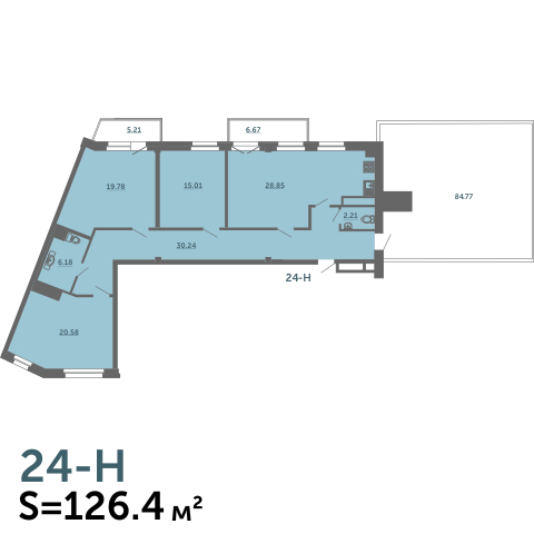 4-комнатная квартира на продажу (126,4 м<sup>2</sup>)
