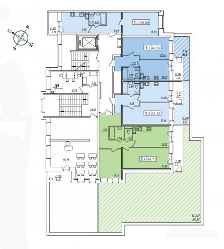 2-комнатная квартира на продажу (94,1 м<sup>2</sup>)