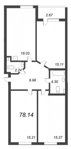 4-комнатная квартира на продажу (78,1 м<sup>2</sup>)