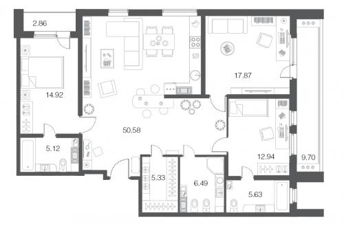 3-комнатная квартира на продажу (118,8 м<sup>2</sup>)
