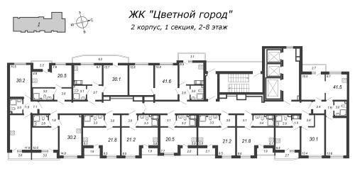 1-комнатная квартира на продажу (30,1 м<sup>2</sup>)