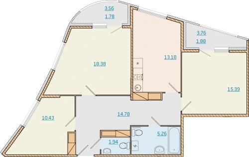 3-комнатная квартира на продажу (84,2 м<sup>2</sup>)