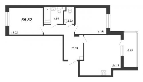 3-комнатная квартира на продажу (66,8 м<sup>2</sup>)