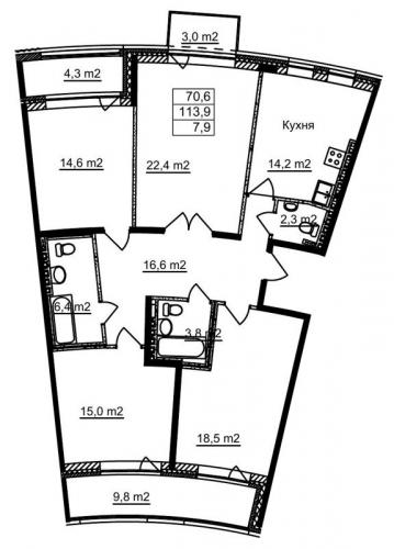 4-комнатная квартира на продажу (113,6 м<sup>2</sup>)