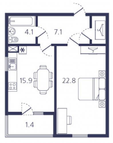 1-комнатная квартира на продажу (54,4 м<sup>2</sup>)