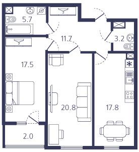 2-комнатная квартира на продажу (78,7 м<sup>2</sup>)