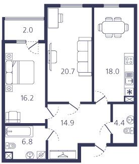2-комнатная квартира на продажу (83,0 м<sup>2</sup>)