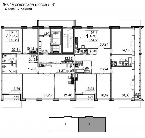 4-комнатная квартира на продажу (172,9 м<sup>2</sup>)