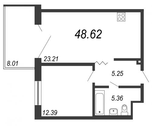 2-комнатная квартира на продажу (48,6 м<sup>2</sup>)