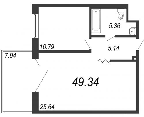 2-комнатная квартира на продажу (49,3 м<sup>2</sup>)