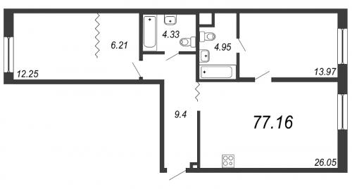 3-комнатная квартира на продажу (77,2 м<sup>2</sup>)