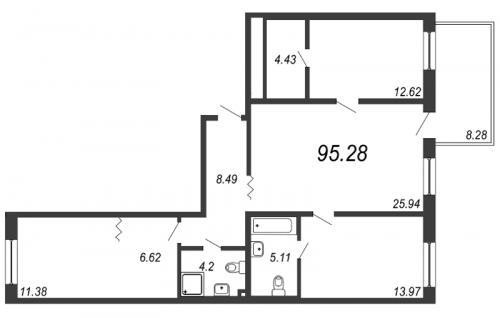 4-комнатная квартира на продажу (95,2 м<sup>2</sup>)