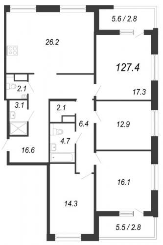 5-комнатная квартира на продажу (127,4 м<sup>2</sup>)