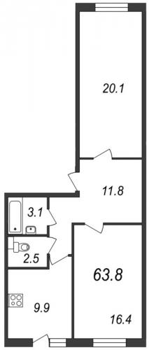 2-комнатная квартира на продажу (63,8 м<sup>2</sup>)