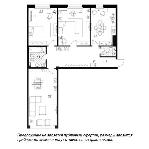 3-комнатная квартира на продажу (120,1 м<sup>2</sup>)