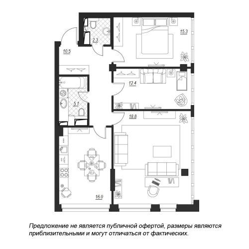 3-комнатная квартира на продажу (92,8 м<sup>2</sup>)