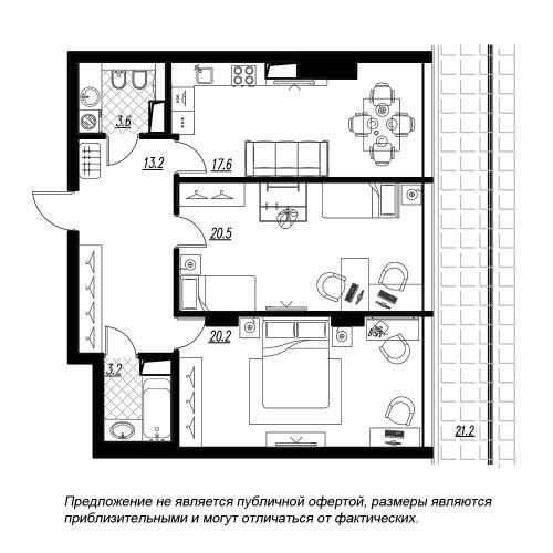 2-комнатная квартира на продажу (86,2 м<sup>2</sup>)