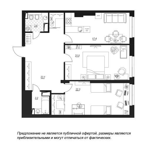 2-комнатная квартира на продажу (92,2 м<sup>2</sup>)