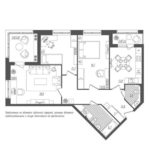 3-комнатная квартира на продажу (87,2 м<sup>2</sup>)