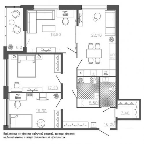 3-комнатная квартира на продажу (106,9 м<sup>2</sup>)