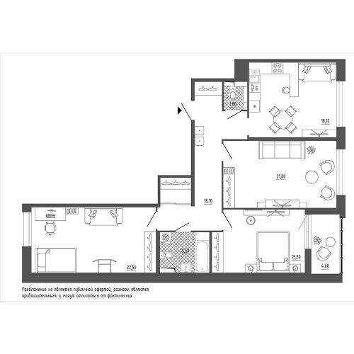 3-комнатная квартира на продажу (104,9 м<sup>2</sup>)