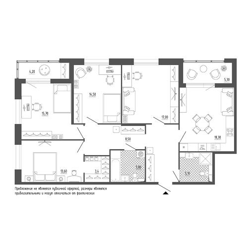 4-комнатная квартира на продажу (117,0 м<sup>2</sup>)