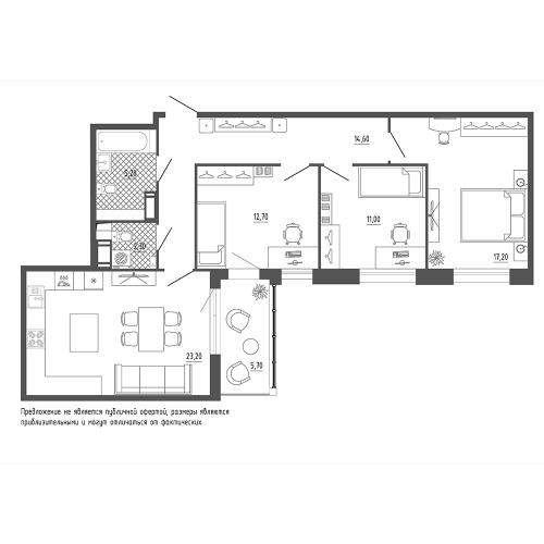 3-комнатная квартира на продажу (89,1 м<sup>2</sup>)