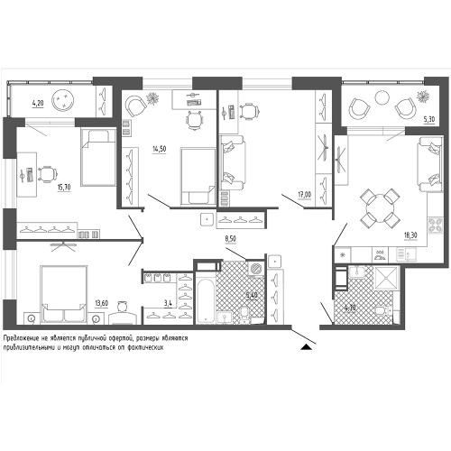 4-комнатная квартира на продажу (116,2 м<sup>2</sup>)