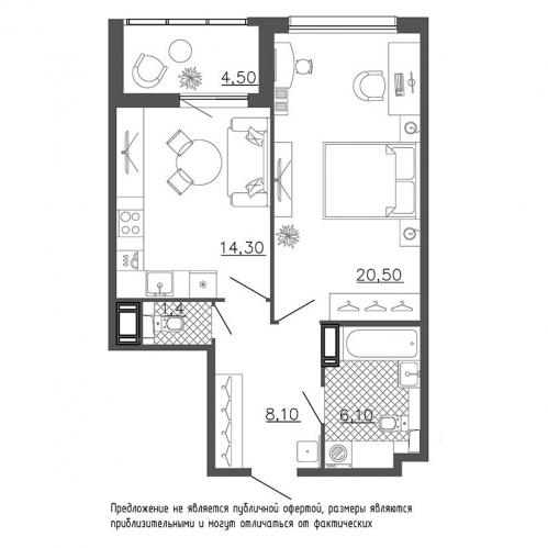 1-комнатная квартира на продажу (53,1 м<sup>2</sup>)