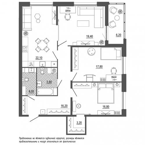 3-комнатная квартира на продажу (112,3 м<sup>2</sup>)
