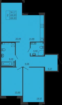 2-комнатная квартира на продажу (101,0 м<sup>2</sup>)