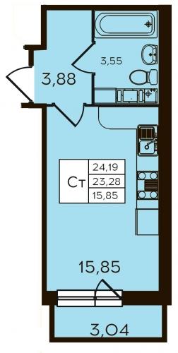 1-комнатная квартира на продажу (24,2 м<sup>2</sup>)