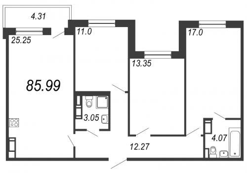 4-комнатная квартира на продажу (86,0 м<sup>2</sup>)