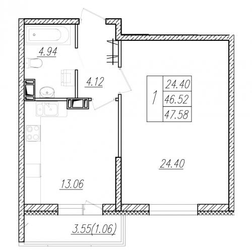 1-комнатная квартира на продажу (46,8 м<sup>2</sup>)