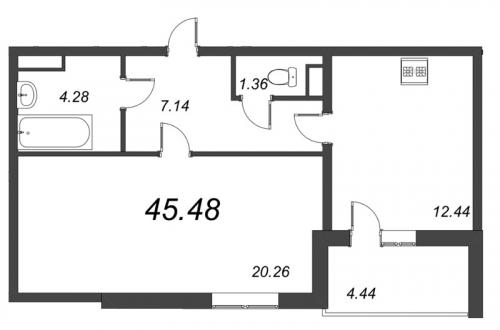 1-комнатная квартира на продажу (45,5 м<sup>2</sup>)
