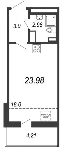 Студия на продажу (24,0 м<sup>2</sup>)