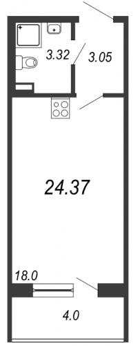 Студия на продажу (24,4 м<sup>2</sup>)