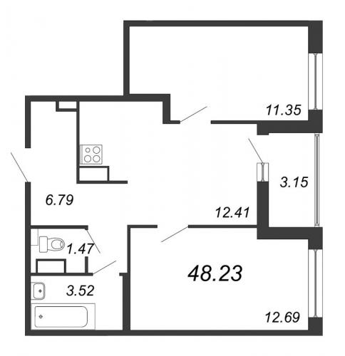 3-комнатная квартира на продажу (48,2 м<sup>2</sup>)