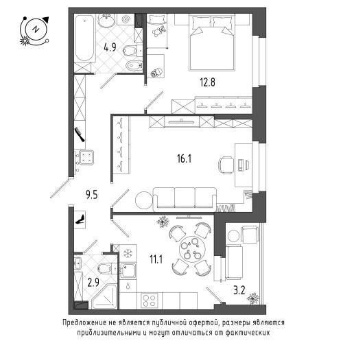 2-комнатная квартира на продажу (58,9 м<sup>2</sup>)