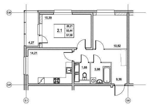 2-комнатная квартира на продажу (57,6 м<sup>2</sup>)