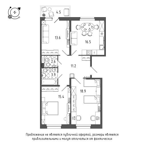 3-комнатная квартира на продажу (83,5 м<sup>2</sup>)