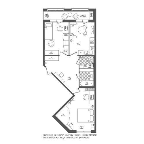 2-комнатная квартира на продажу (66,2 м<sup>2</sup>)