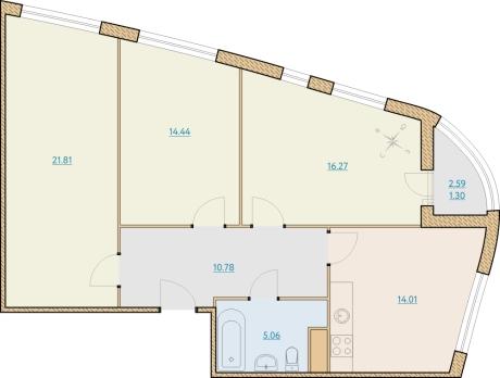 3-комнатная квартира на продажу (83,4 м<sup>2</sup>)