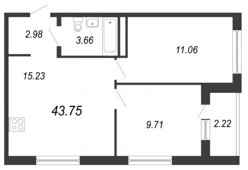 3-комнатная квартира на продажу (43,8 м<sup>2</sup>)