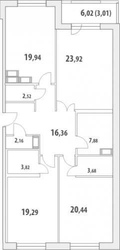 3-комнатная квартира на продажу (123,7 м<sup>2</sup>)