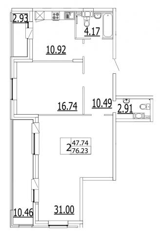 2-комнатная квартира на продажу (76,6 м<sup>2</sup>)