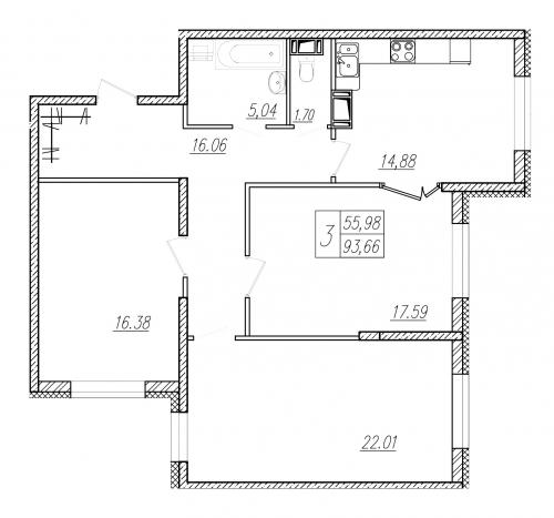 3-комнатная квартира на продажу (92,4 м<sup>2</sup>)