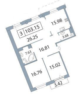 3-комнатная квартира на продажу (103,2 м<sup>2</sup>)