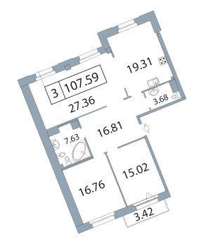 3-комнатная квартира на продажу (108,1 м<sup>2</sup>)