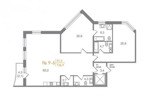 2-комнатная квартира на продажу (175,4 м<sup>2</sup>)